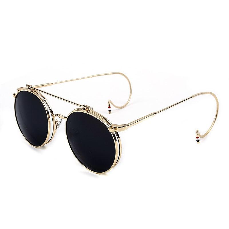 Vintage Steampunk Sunglasses Men Round Designer Steam Punk Metal Women Flip Coating Sunglasses Men Retro Circle