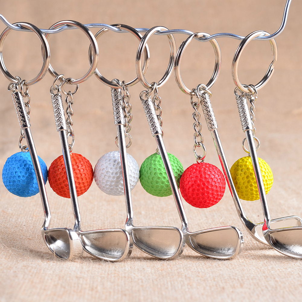6PCS/set Golf ball key chain top grade metal Keychain Car Key Chain Key Ring sporting goods sports Gift For souvenir ball ...