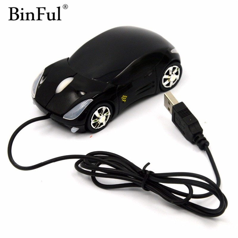BinFul New 3D Optical USB Wired Mouse Mice 1600DPI Car Shape For PC Laptop Notebook Computer Black Car-styling Mouse