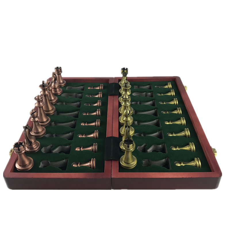 Classic  Zinc Alloy Chess Pieces Wooden Chessboard Chess Game Set With King Height 6.7cm Outdoor Game High Quality Chess Yernea 4