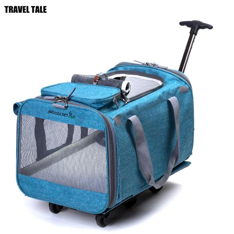 TRAVEL TALE Foldable Dog pets case trolley luggage bag for pets