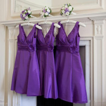 2017 Hot Sale Short Purple Bridesmaid Dress V Neck Sleeveless Flower Belt A Line Knee Length Party Gowns vestidos de festa