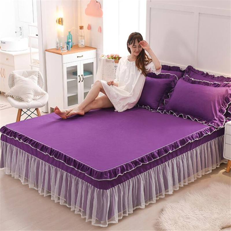 Korean Style 3pcs Princess Non-slip Lace Bedspreads Nice Bed Cover Lace Mattress Protect Cover Quality Bedskirt Free Shipping