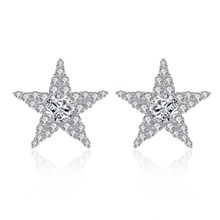 Fashion Elegant Satr Stud Earrings for Women Paved Cubic Zirconia Crystal Girl Party Ear Jewelry Accessories цена