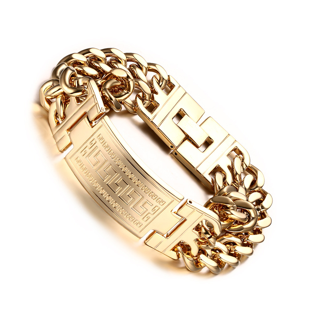 Mens 316L Stainless Steel Jewelry Great Wall Pattern Gold Plated