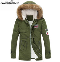 2017 New Arrival Men S Thick Warm Winter Down Coat Fur Collar Army Green Men Parka