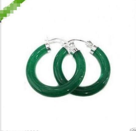 brinco brincos Gift word Love Wholesale price new Tibet ing Green gem STONE 925 SILVER Hoop Huggie Earring women