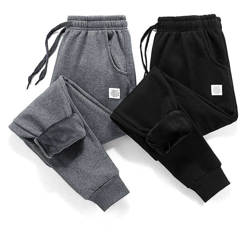 2018 Thick Fleece Jogger Mens Pants Cotton Trousers Male Winter Warm Velvet Sweatpants Tracksuit Joggers Autumn Winter M-4XL
