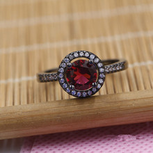 Fashion Jewelry Women Men Top Quality Cubic Zirconia Red Crystal Rings Black Gold-Filled Engagement / Wedding Ring