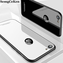 SemgCeKen luxury glass mirror case for iphone 5 5s se 6 s 6s 6plus 7 plus 7plus 8 8plus silicone silicon hard back phone cover