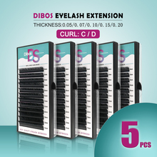 Dibos 5 cases / lot mink eyelash extension, individual eyelashes natural make fake false C D curl