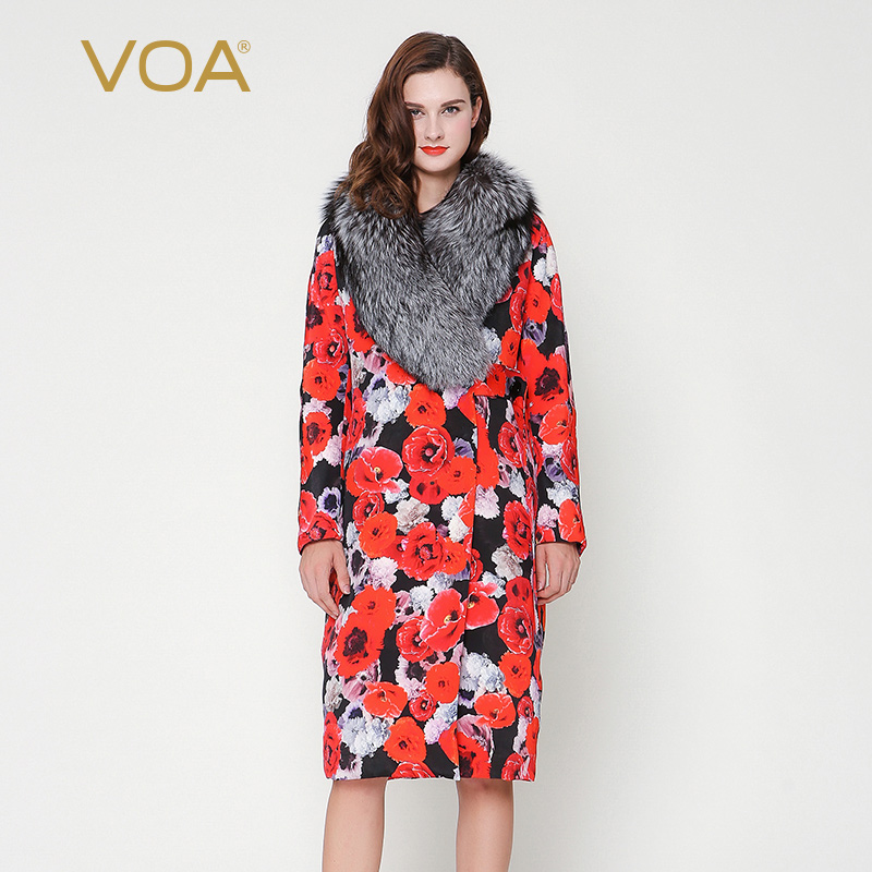 VOA 2017 Winter Luxury Silver Fox Fur Collar Red Printed Long Coat Plus Size Heavy Silk Middle Aged Women Parka Coat M6300 2017 winter new clothes to overcome the coat of women in the long reed rabbit hair fur fur coat fox raccoon fur collar