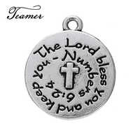 Teamer 5pcs/lot Lettering Religious Crosses Charm Round Disc Pendant for Necklace Handmade Making Jewelry Fingdings