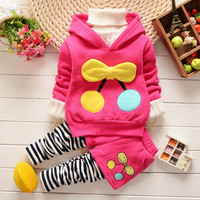 Spring Autumn Cotton Children Thicken Warm Christmas Family Clothing Set Baby Girls Tracksuits Hoodies+ Pants Kids Sport Suit