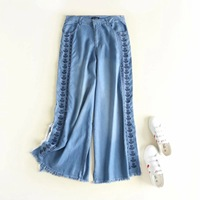 Hot European &The United States Style 2018 Summer New Arrival Slim Casual Lounge Embroidery Jeans Wide Leg Pants Free Shipping
