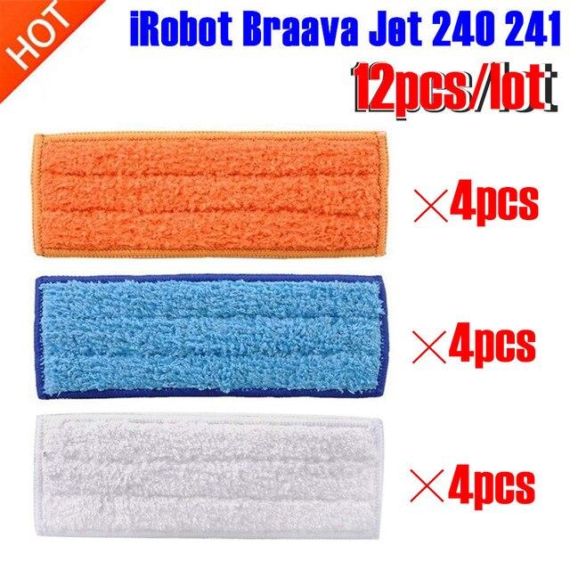 12 pçs/lote robot cleaner escovas peças de reposição 4 pcs pcsDamp Pad Mop Molhado Pad Mop + 4 + 4 pcs pad seco Braava Mop para iRobot Jet 240 241