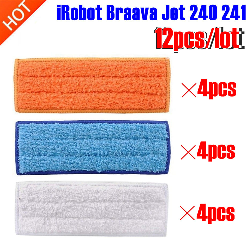 12 Pcs/lot Robot Cleaner Brushes Spare Parts 4pcs Wet Pad Mop +4pcsDamp Pad Mop + 4pcs Dry Pad Mop For IRobot Braava Jet 240 241