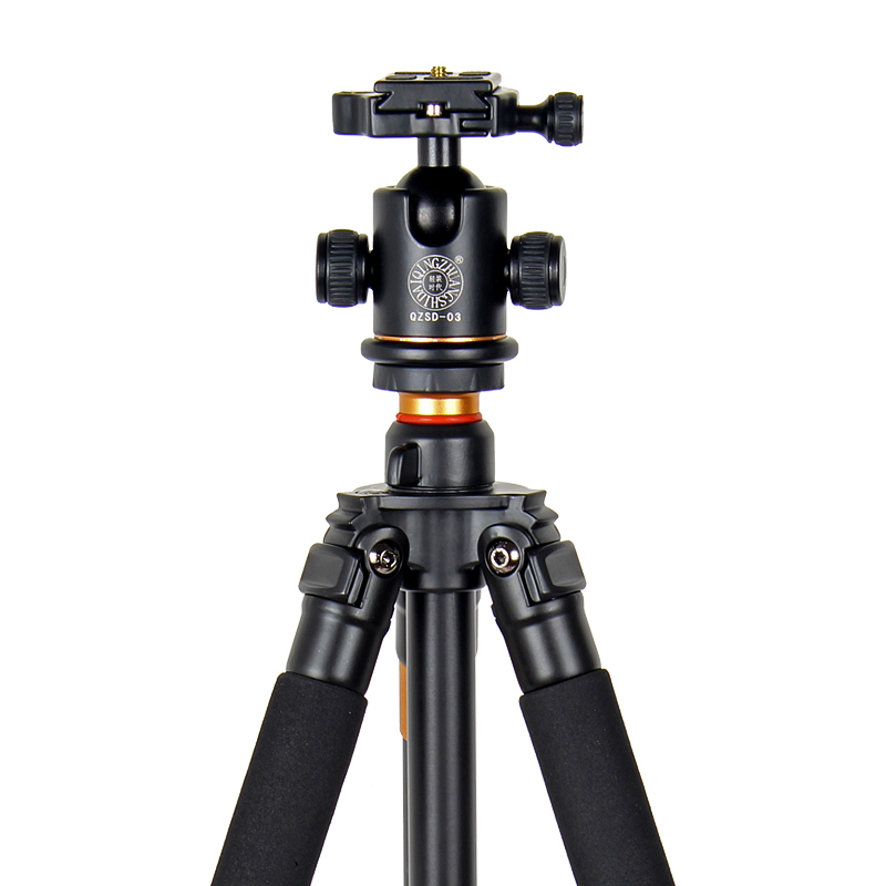 QZSD Q471 Professional Portable Aluminum Tripod With Panoramic Ball head 4 Section Tripode For Canon Nikon Sony DSLR Camera in Tripods from Consumer Electronics