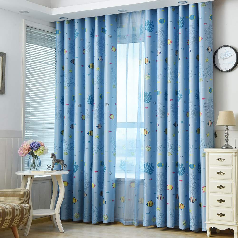 Marine Biology Cloud Tree Blackout Curtain Living Room Shade Curtains Bedroom Door Window Balcony Divider Blinds