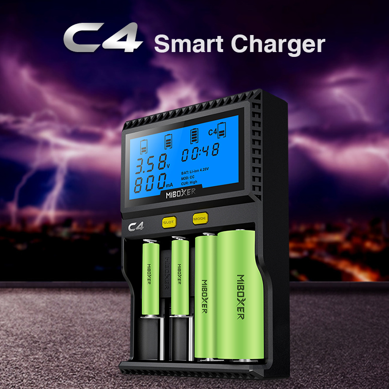 Original Miboxer C4 LCD Battery Charger for Li-ion/IMR/INR/ICR/LiFePO4 18650 14500 26650 AAA 3.7 1.2V 1.5V Batteries PK VC4 original miboxer c4 lcd battery charger for li ion imr inr icr lifepo4 18650 14500 26650 aaa 3 7 1 2v 1 5v batteries pk vc4