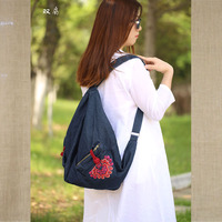High Quality Ethnic Denim Embroidered Floral Canvas Backpacks for Women Anti theft sac a dos Retro Jeans Travel Shoulder Mochila