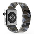 42mm 38mm Milanese Loop Strap Made By 316L Stainless Steel Camouflage Blue With Adjustable Magnetic Closure For Apple Watch
