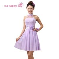 new arrivals 2018 women bride maid pretty halter bridesmaid dresses lilac chiffon elegant embellished dress for weddings H3781