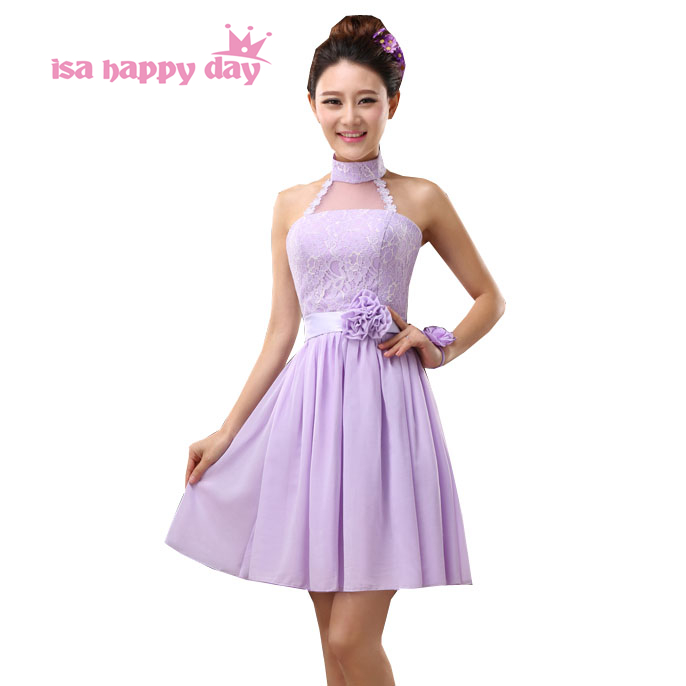 new arrivals 2019 women bride maid pretty halter   bridesmaid     dresses   lilac chiffon elegant embellished   dress   for weddings H3781