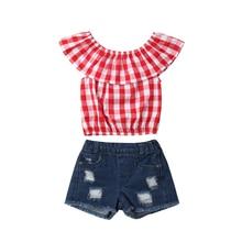2PCS Toddler Kids Girl Outfits Clothes Summer Plaid Ruffle Tosp Denim Short Pants Set 2019