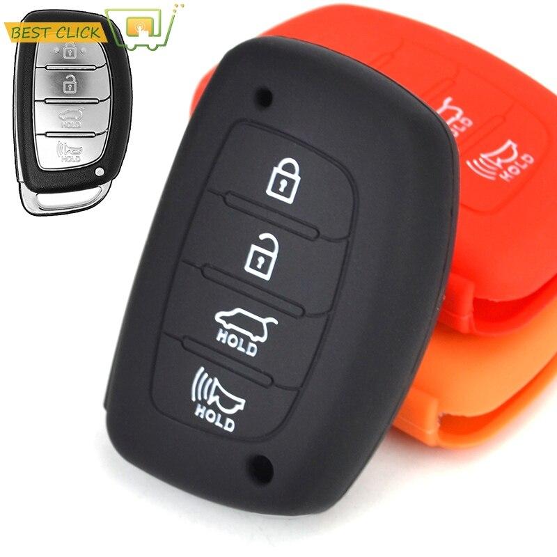 4 Button Silicone Key Fob Case Cover Fit For Hyundai Sonata Santa Fe i40