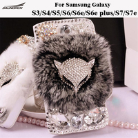 Leather Flip Case Real Rabbit Fur Protective Furry Diamond Crystal Bling Cover Bag For Samsung Galaxy