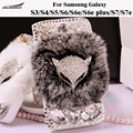 Leather Flip case  Rabbit Fur Protective Furry Diamond Crystal Bling Cover Bag For Samsung Galaxy S3/4/5/6/6e/6e plsu/S7/S7e
