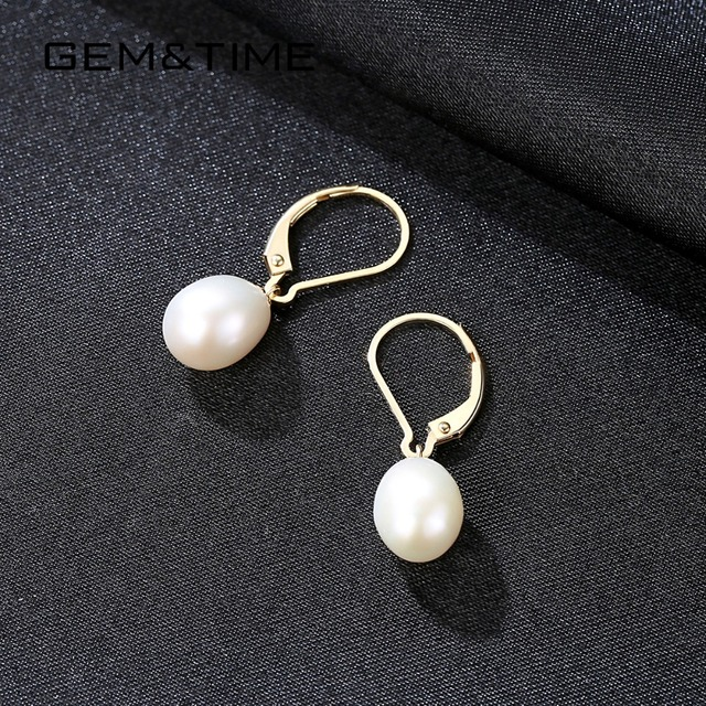 18K Gold Drop Earrings with Freshwater Pearls 4