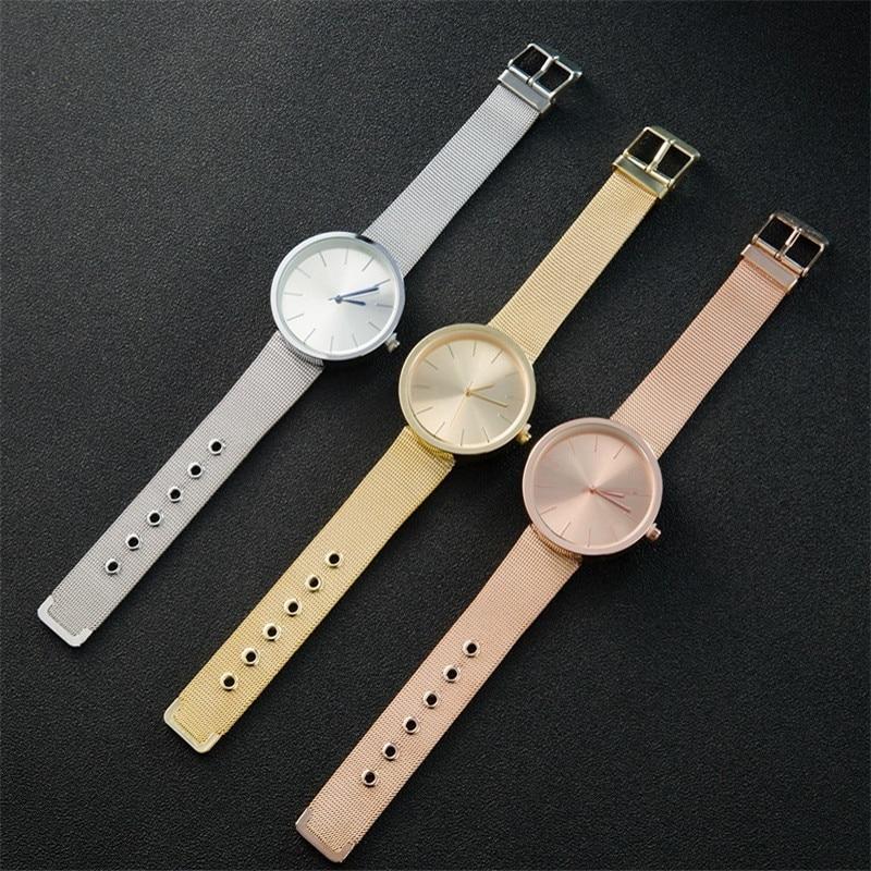 2017 Casual Quartz Bangles Womens Fashion Silver and Gold Rose Knit Wrist Watch Gift Girl ChristmasWomenRelogio