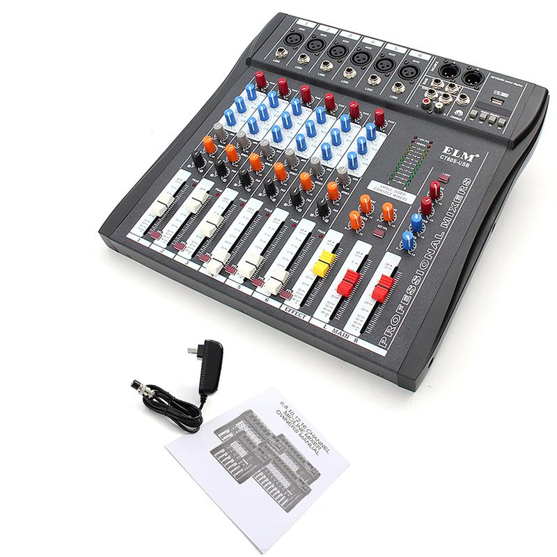 LEORY Professional Karaoke Audio Digital Sound Mixing Amplifier Microphone Mixer Console 6 Channel 48V Phantom Power With USB