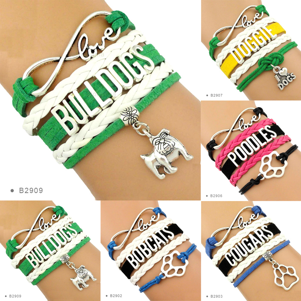 Bobcats Cougars Poodles Dogs Bulldogs Pitbull Mom Animal Heart Infinity Love Charm Bracelets Women Girl Men Unisex Boy Jewelry