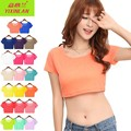 15 Colors Women Sexy Stretch Crop Tops Girl Short Sleeve Elastic Mesh Short T-Shirts Tees Double-layer Front Singer Layer Back