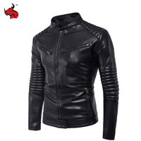 New Vintage Retro Mens Slim Motorcycle Jackets Male Punk Classic Biker PU Faux Leather Moto Jacket Coat Stand Collar