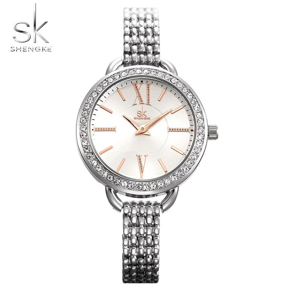Shengke New Jewelry Gifts For Women's Luxury Black Steel Quartz Watch Women Watches Fashion Ladies Clock Relogio Feminino