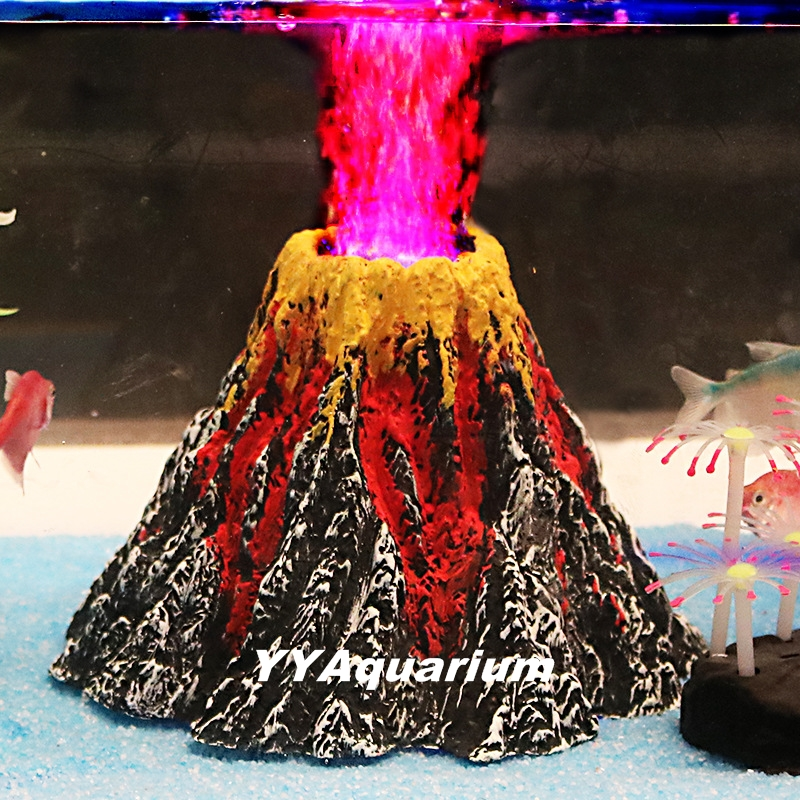Artficial volcano resin rock decoration fish tank for Aquarium volcano decoration