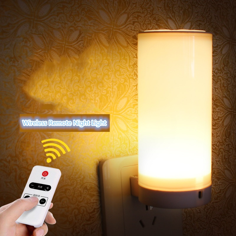 Wireless Remote Control LED Small Night Lights With Plug Color Changeable Wall Sleep Lamps Bedside Bedroom Baby Feeding Luminary