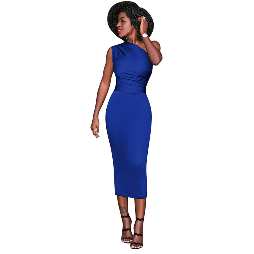 Tsuretobe New Fashion Women Elegant Dress Summer 2018 Sleeveless One  Shoulder Bodycon Party Dress Female Midi Dress Ladies-in Dresses from  Women s Clothing ... 26df744f9fc2
