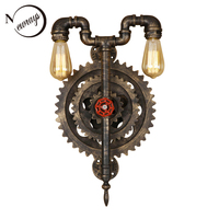 Vintage iron minimalist gear wall lamp E27 LED 220V water pipe creative sconce lights for bedroom living room hallway hotel cafe