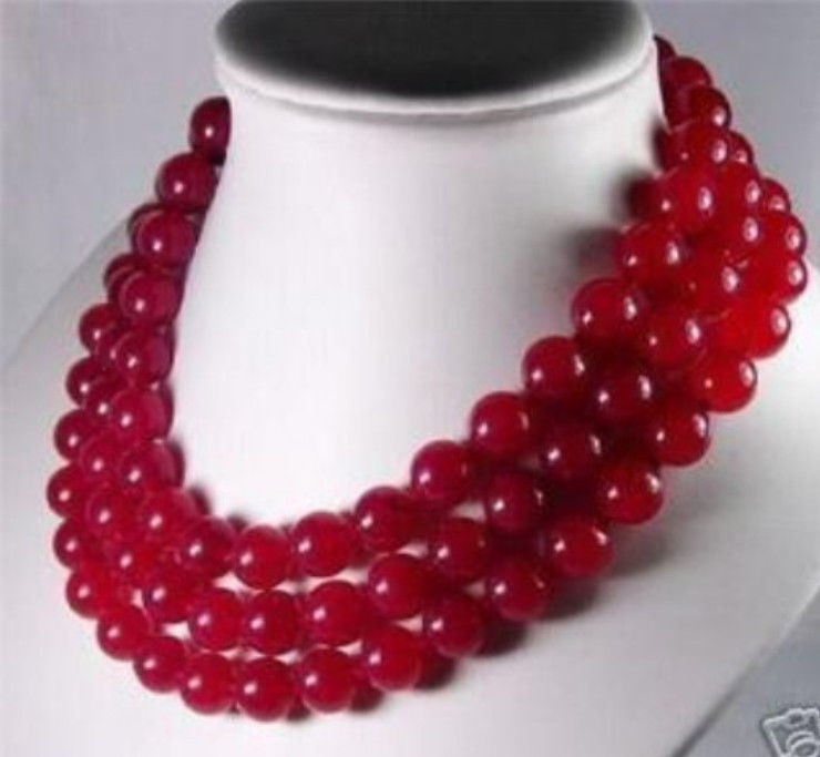 New! 10mm Red Jade beads Necklace long 50\
