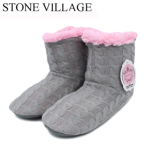 Automne Hiver Slipper Femmes en peluche chaud Maison Slipper coton rembourré confortable sol Accueil Slipper,gris,40