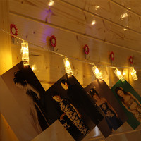 Marriage room decoration photo frame photo exposed stars of the stars string clip shape LED battery light string 2.5M