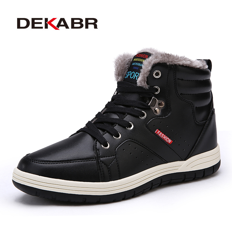 DEKABR Super Warm Men Winter Boots Men High Quality Snow Boots For Men Waterproof Warm Shoes With Fur Men's Ankle Boots