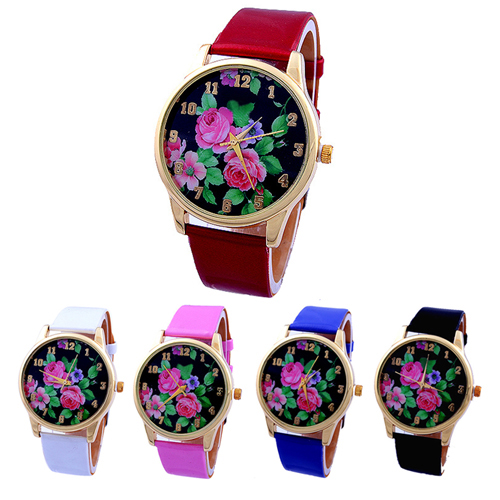 Popular Long life span Casual Wrist Watch with Rose Flower Dial Faux Leather Strap Quartz Analog for women NO181 5UWH popular women s flowers pattern faux leather analog ceramic style quartz watches no181 5v89 w2e8d