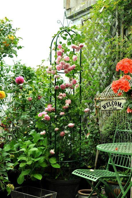 Green Metal Flower Stand Climbing Frame Bracket Arch Pergola Rose