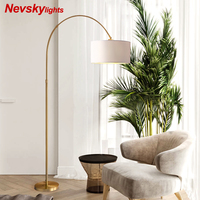 Nevsky American LED Floor lamp copper Modern Standing Lamp For Living Room White Bedside Reading Lights Gray Stand Lighting